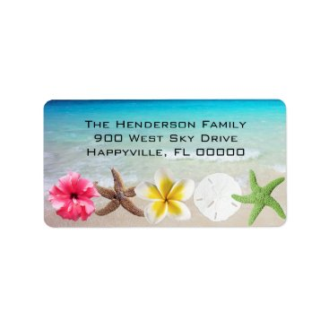 Beach Themed Hawaiian Flowers n Seashells Return Address Label
