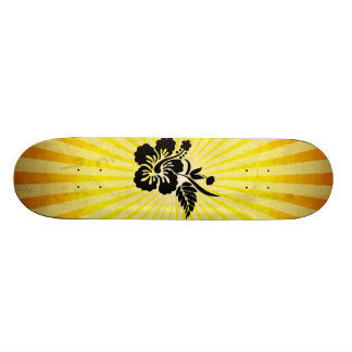 Hawaiian Flowers Silhouette Custom Skateboard