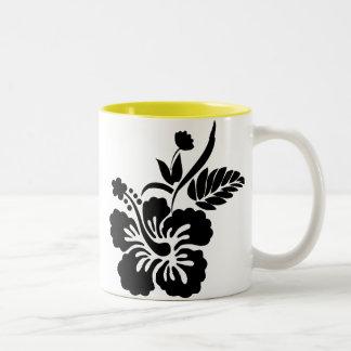 Hawaiian Flowers Silhouette Two-Tone Coffee Mug