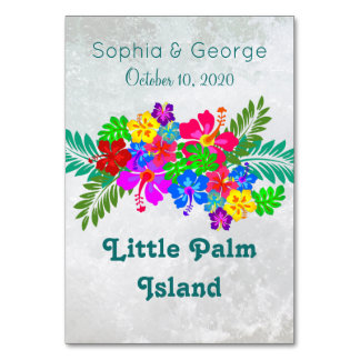 Hawaiian Flowers Swag Table Name Cards