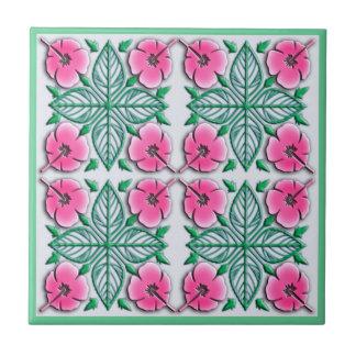Hawaiian flowers tropical ornament ceramic tile