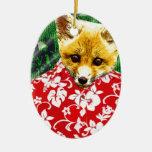 Hawaiian Fox Double-Sided Oval Ceramic Christmas Ornament
