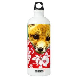 hawaiian fox round aluminum water bottle