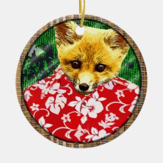 hawaiian fox round ornaments
