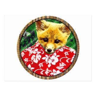 hawaiian fox round postcard