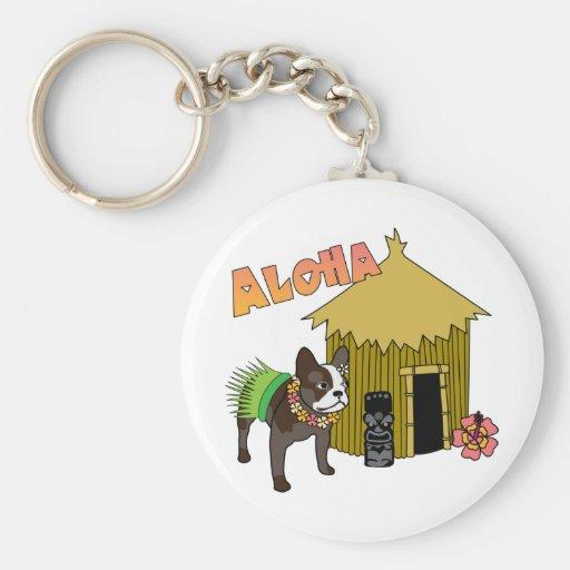 Hawaiian French Bulldog Tiki Hula Keychains