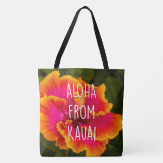 Hawaiian Fuchsia Hibiscus Reversible Beach Bag