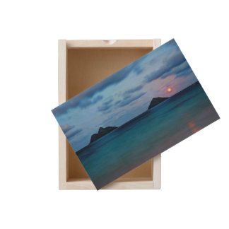 Hawaiian Full Moon Rise Over Islands Wood Box
