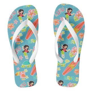 Hawaiian Fun Pattern Flip Flops