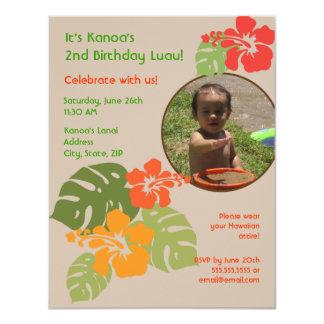"Hawaiian Garden Birthday Photo Invitation 4.25"" X 5.5"" Invitation Card"