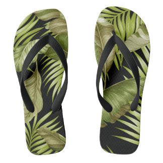 Hawaiian Garden Tropical Leaves | green black Flip Flops