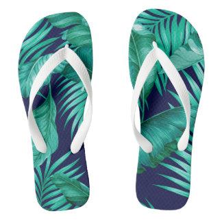Hawaiian Garden Tropical Leaves | navy turquoise Flip Flops