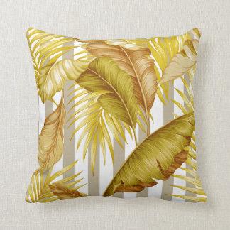 Hawaiian Garden Tropical Leaves Stripes Pillow