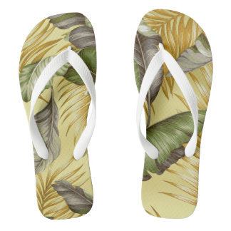 Hawaiian Garden Tropical Leaves | tan sand green Flip Flops