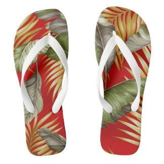 Hawaiian Garden Tropical Leaves | tomato red Flip Flops