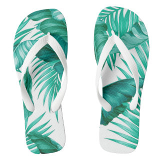 Hawaiian Garden Tropical Leaves | turquoise white Flip Flops