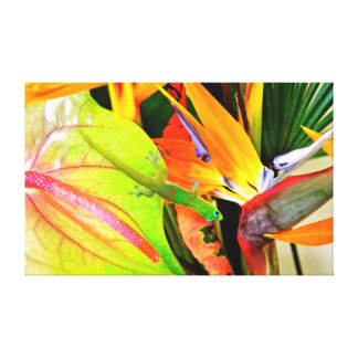 Hawaiian Gecko on Tropical Flowers Canvas Print