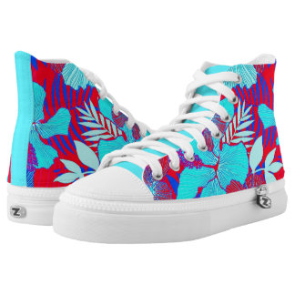 HAWAIIAN GETAWAY STYLE BOLD COLORS FLORAL PATTERN High-Top SNEAKERS