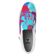 HAWAIIAN GETAWAY STYLE BOLD COLORS FLORAL PATTERN Slip-On SNEAKERS