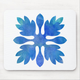 Hawaiian Ginger Quilt Ocean Blue Watercolor Mouse Pad