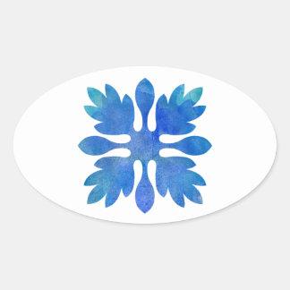 Hawaiian Ginger Quilt Ocean Blue Watercolor Oval Sticker