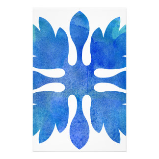 Hawaiian Ginger Quilt Ocean Blue Watercolor Stationery