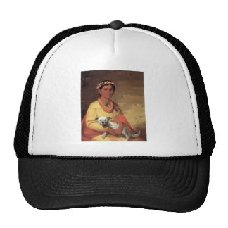 Hawaiian Girl with Dog, oil on canvas painting Hat