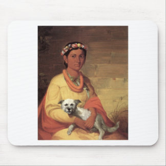 Hawaiian Girl with Dog, oil on canvas painting Mouse Pad