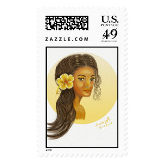 Hawaiian Girl with Yellow Hibiscus Postage