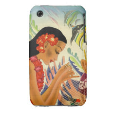 Hawaiian Girly Vintage Poster Iphone3 Case at Zazzle