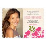 "Hawaiian Graduation Announcements Invitations Pink 5"" X 7"" Invitation Card"