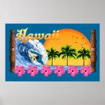 Hawaiian grande que practica surf impresiones