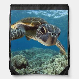 Hawaiian Green Sea Turtle Drawstring Bag