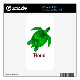 Hawaiian Green Sea Turtle on White Decals For iPhone 4