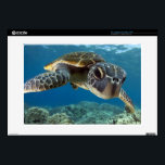 """Hawaiian Green Sea Turtle Skin For Laptop<br><div class=""""desc"""">A Hawaiian gree sea turtle investigates his reflection in my dome port. &#169; and &#174; Bigstock&#174; - All Rights Reserved.</div>"""