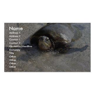 Hawaiian Green Sea Turtle Swimming On Beach Of Hal Business Card Template