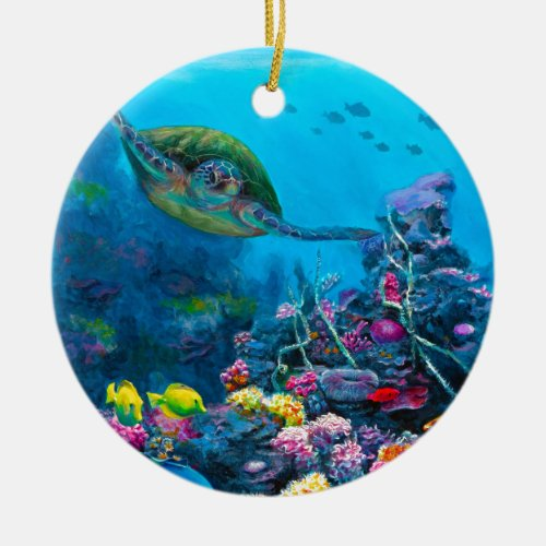 Hawaiian Green Sea Turtle Tropical Fish Reef Ceramic Ornament