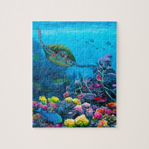 Hawaiian Green Sea Turtle Tropical Fish Reef Jigsaw Puzzle