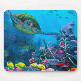 Hawaiian Green Sea Turtle Tropical Fish Reef Mouse Pad