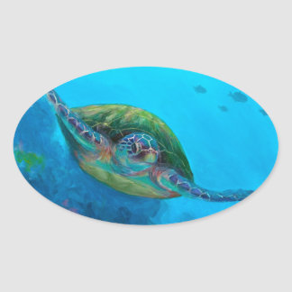 Hawaiian Green Sea Turtle Tropical Fish Reef Oval Sticker