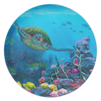 Hawaiian Green Sea Turtle Tropical Fish Reef Party Plate