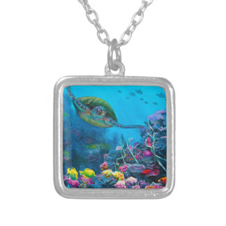 Hawaiian Green Sea Turtle Tropical Fish Reef Silver Plated Necklace
