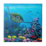 """Hawaiian Green Sea Turtle Tropical Fish Reef Tile<br><div class=""""desc"""">About &quot;Secret Sanctuary&quot; a painting by Karen Whitworth: This painting was inspired by my first snorkeling experience. My husband and I could not believe the amount of life and explosive color that existed below the waves off the Maui coast. What beauty! To top it all off we were joined by...</div>"""