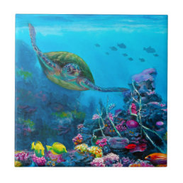 Hawaiian Green Sea Turtle Tropical Fish Reef Tile