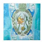 Hawaiian Hanu Green Sea Turtle Zentangle Inspired Ceramic Tile