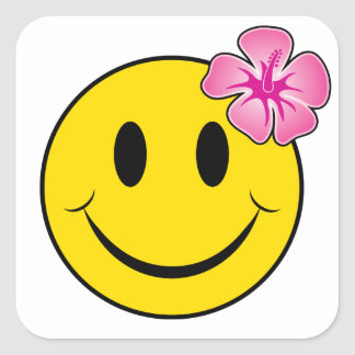 Hawaiian Happy Face Square Sticker