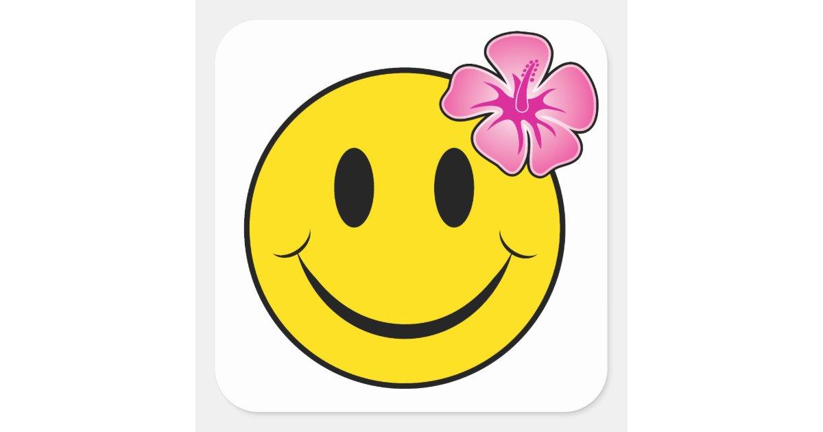 Hawaiian Happy Face Square Sticker Zazzle Com
