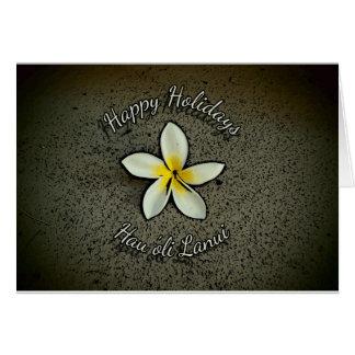 Hawaiian Happy Holidays plumeria greeting cards
