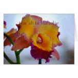 Hawaiian Happy Mother's Day Orange Cattleya Greeting Card