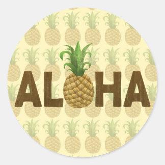 Hawaiian Hawaii de la piña del vintage de la Pegatina Redonda